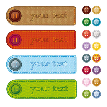 Vector illustration of four banners with different textures and set of sewing buttons.