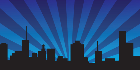 Night town city panorama with rays of light - vector illustration