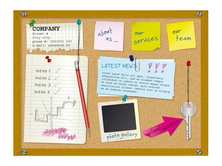 Website design template - cork board with notes