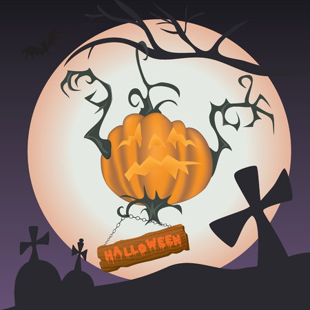 Scary Halloween pumpkin hanging on the branch - illustration with full moon in the background Illustration