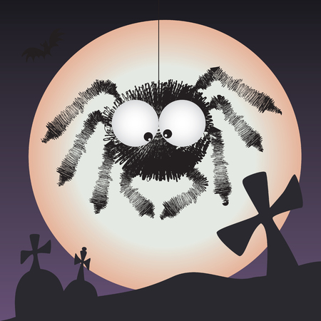 Spider in the graveyard - scary halloween vector illustration with full moon in the background