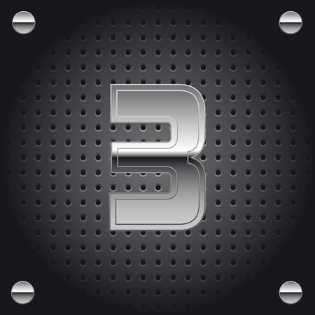 Vector set of silver metalic font on metalic perforated background - number three - 3 Vectores