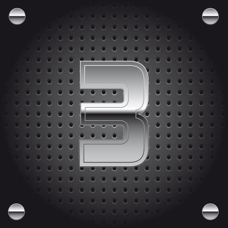 Vector set of silver metalic font on metalic perforated background - number three - 3 Ilustração