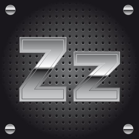 Letter Z silver metallic lettering.