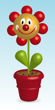 3D vector illustration of funny flower in pot
