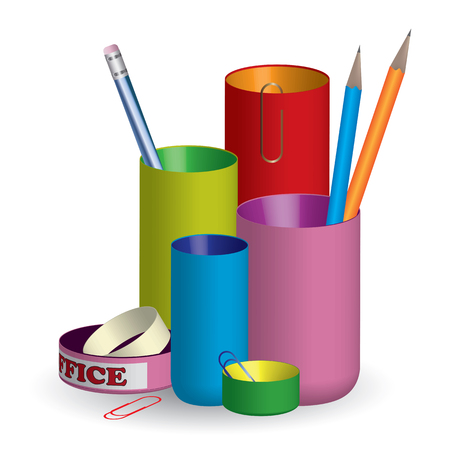 3D colorful pencil holder  organizer with paper clips and adhesive tape - vector illustration