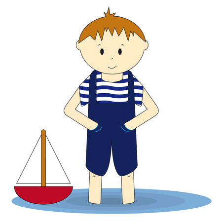 Little sailor - cute boy standing in the water. Illustration