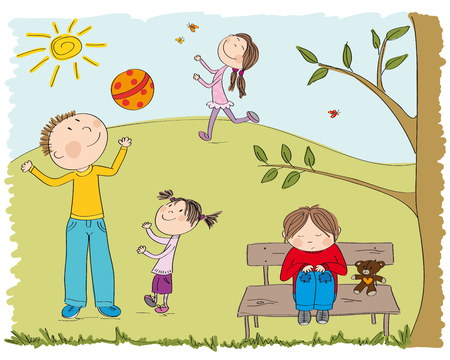 Happy children playing outside in the park, one boy is sad and alone, sitting on the bench under the tree original hand drawn illustration Illustration