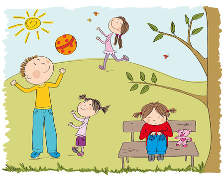 Happy children playing outside in the park, one girl is sad and alone, sitting on the bench under the tree original hand drawn illustration