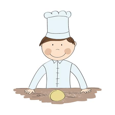 Gelukkige chef-kok die zich achter de originele hand getrokken illustratie van het keukenbureau bevinden Stockfoto - 93570703