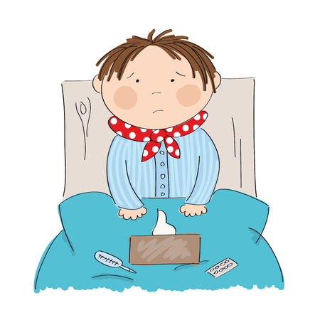 Sick boy with flu sitting in the bed with medicine, thermometer and paper handkerchiefs on the blanket - original hand drawn illustration Illustration