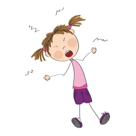 Angry naughty girl furious and yelling - original hand drawn illustration Illustration