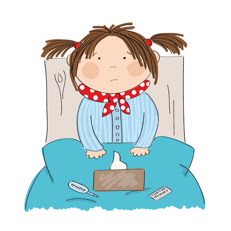 Sick girl with flu sitting in the bed with medicine, thermometer and paper handkerchiefs on the blanket original hand drawn illustration. Illustration