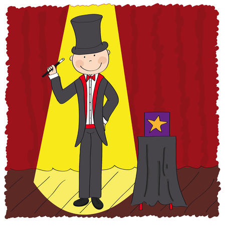 Magician  wizard standing in the theatre stage next to the magic box and holding magic wand - original hand drawn illustration