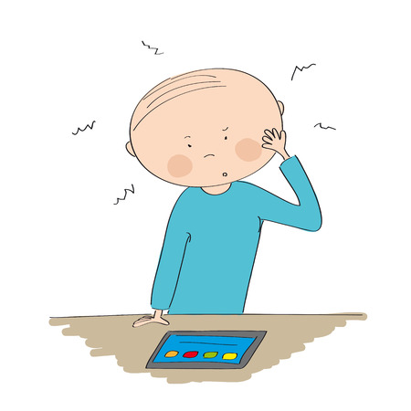 Puzzled young man standing behind the table and looking at the tablet - original hand drawn illustration Illustration