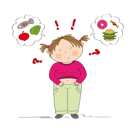 Dubious fat girl thinking of food, trying to decide what to eat - whether healthy or unhealthy food - original hand drawn illustration Stock Illustratie