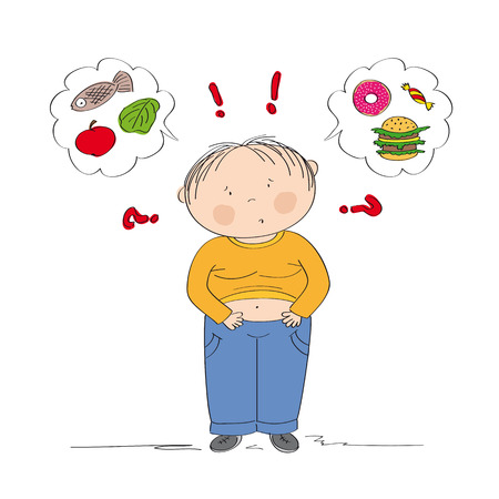 Dubious fat boy thinking of food, trying to decide what to eat - whether healthy or unhealthy food - original hand drawn illustration Illustration