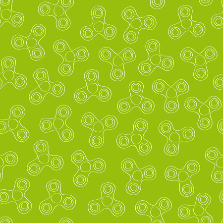 Green spinner seamless background - original hand drawn illustration