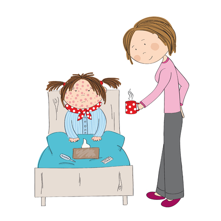 Sick girl with chickenpox, measles, rubeola or skin rash sitting in the bed with medicine. Illustration
