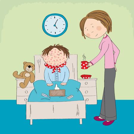 Malade avec la varicelle, la rougeole, la rubéole ou une éruption cutanée, assis dans le lit avec des médicaments.