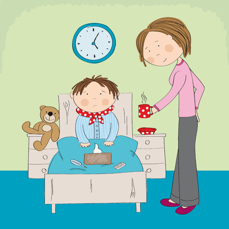 Malade garçon grippé assis dans le lit avec des médicaments, un thermomètre et des mouchoirs en papier sur la couverture, maman lui apportant une tasse de thé chaud - illustration originale dessinée à la main Vecteurs
