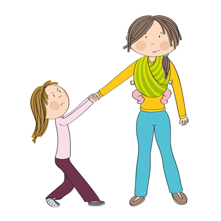 Naughty jealous little girl fighting mothers attention, tugging her hand, behaving bad. Mum carrying second child, little baby girl, in baby sling. Sibling rivalry. Original hand drawn illustration.