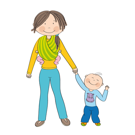 Happy and smiling young mother with two children - little toddler boy and baby girl which she is carrying in sling - original hand drawn illustration Illustration