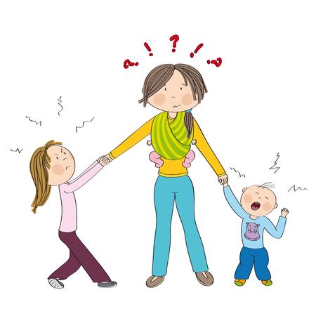 Stoute kinderen (broers en zussen) vechten tegen moeders aandacht, jaloers meisje trekt aan haar moeders hand, kleine peuterjongen huilt. Mama met derde kind, kleine baby in draagdoek. Hand getekende illustratie.