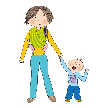 Naughty jealous little boy crying, fighting mother's attention. Mum carrying second child, little baby girl, in baby sling. Original hand drawn illustration.