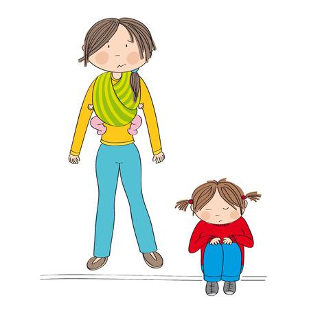 La rivalidad entre hermanos. Triste niña sentada en el suelo estando triste. Su madre de pie detrás de ella llevando a su hermana, una pequeña niña, en una honda. Mamá no sabe qué hacer.