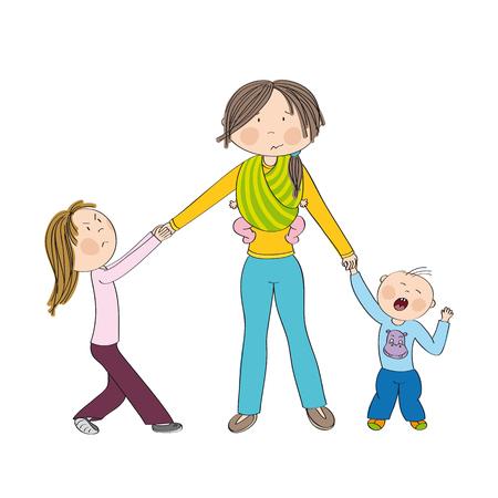 Méchants enfants (frères et s?urs) combattant l'attention de la mère, fille jalouse tirant sur la main de sa mère, petit garçon en bas âge pleurant. Maman portant un troisième enfant, petit bébé en écharpe porte-bébé. Illustration dessinée à la main. Banque d'images - 95248391