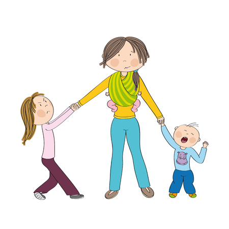 Naughty kids (siblings) fighting mother's attention, jealous girl tugging her mother's hand, little toddler boy crying. Mum carrying third child, little baby in baby sling. Hand drawn illustration.
