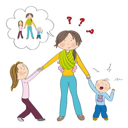 Freche Kinder (Geschwister) bekämpfen die Aufmerksamkeit der Mutter, eifersüchtiges Mädchen zieht an der Hand ihrer Mutter, kleiner Junge weint. Mutter, die drittes Kinderkleines Baby im Tragetuch trägt und sich vorstellt, nette Kinder zu haben.
