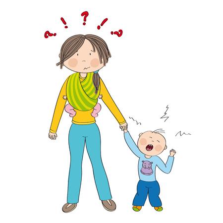 Niño travieso celoso llorando, luchando contra la atención de la madre. Mamá llevando a un segundo hijo, una pequeña niña, en una honda. Ilustración original dibujada a mano.