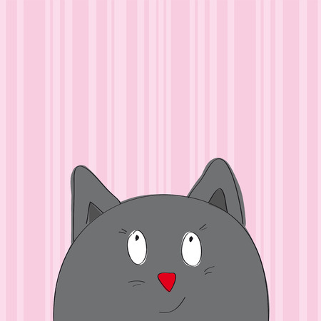 Greeting card with grey cat looking from the bottom of the page - original hand drawn illustration