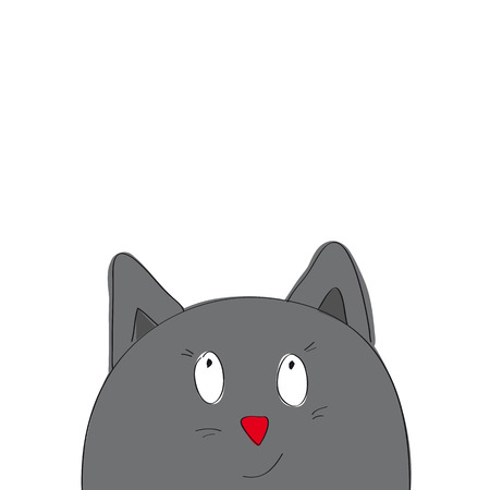 Funny cartoon grey cat looking from the bottom of the page - original hand drawn illustration Illustration