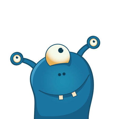 Cute and happy alien with three eyes - funny cartoon illustration