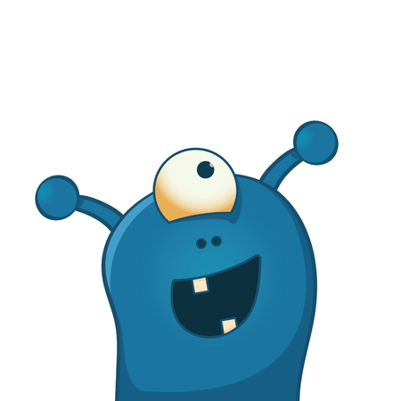 Cute and happy alien with one big eye - funny cartoon illustration Çizim