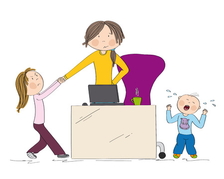 Naughty kids (sibling) fighting mothers attention. Jealous girl tugging her hand, little toddler boy crying. Mum wants to work on her laptop but they wont let her. Hand drawn illustration. Stock Illustratie