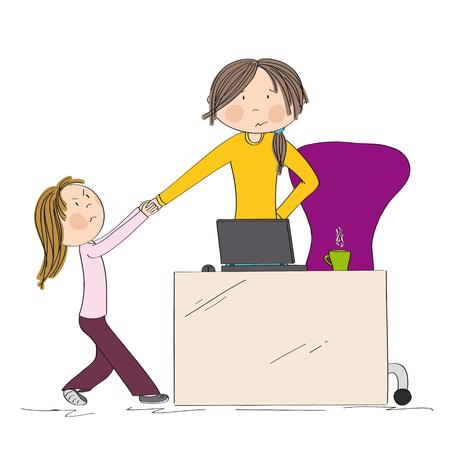 Niña luchando contra la atención de la madre, tirando de su mano. Mamá quiere trabajar en su computadora portátil, pero su hija no la deja. Dibujado a mano ilustración.