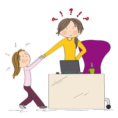 Kleines Mädchen, das die Aufmerksamkeit der Mutter kämpft und an ihrer Hand zieht. Mama will an ihrem Laptop arbeiten, aber ihre Tochter lässt es nicht zu. Hand gezeichnete Illustration.