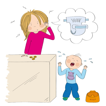 Little child  toddler (boy) does not want to use the pot. His mum, young woman, is desperate, counting money to buy new diapers. Original hand drawn illustration. Illustration