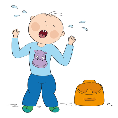 Little child  toddler does not want to use the pot. Small boy is standing, crying, having temper tantrum. Original hand drawn illustration.