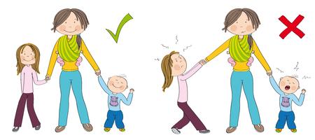Niños traviesos (hermanos) vs. niños buenos. Niños que se portan bien versus niños que luchan contra la atención de la madre, una niña celosa que tira de la mano de su madre, un niño pequeño llorando. Dibujado a mano ilustración. Ilustración de vector