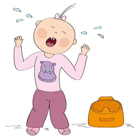 Little child  toddler does not want to use the pot. Small girl is standing, crying, having temper tantrum. Original hand drawn illustration. Illustration