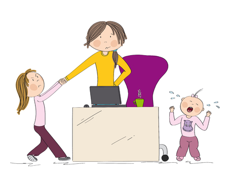 Naughty kids (sibling) fighting mother's attention. Jealous girl tugging her hand, little toddler girl crying. Mum wants to work on her laptop but they won't let her. Hand drawn illustration.