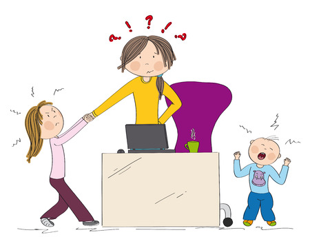 Naughty kids (sibling) fighting mother's attention. Jealous girl tugging her hand, little toddler boy crying. Mum wants to work on her laptop but they won't let her. Hand drawn illustration.