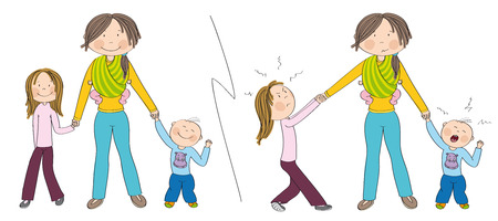 Naughty kids (sibling) vs. good kids. Good behaving children vs. children fighting mother's attention, jealous girl tugging her mother's hand, little toddler boy crying. Hand drawn illustration.