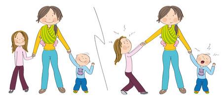 Niños traviesos (hermanos) vs. niños buenos. Niños que se portan bien versus niños que luchan contra la atención de la madre, una niña celosa que tira de la mano de su madre, un niño pequeño llorando. Dibujado a mano ilustración.
