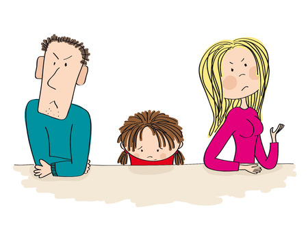 Quarreling parents. Their child, little girl, is sitting between them looking sad and thinking about divorce. Original hand drawn illustration of unhappy family.